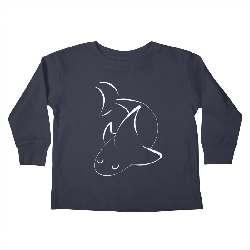 Shark (White) Kids Toddler Longsleeve T-Shirt by TYNICKO Random Randoms Shop