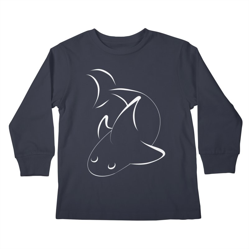 Shark (White) Kids Longsleeve T-Shirt by TYNICKO Random Randoms Shop