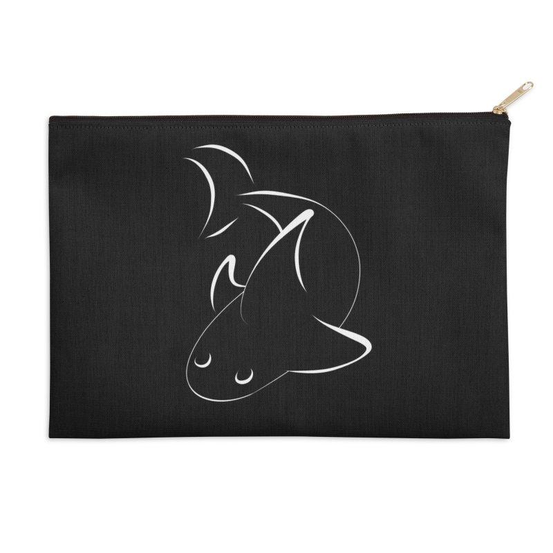 Shark (White) Accessories Zip Pouch by TYNICKO Random Randoms Shop
