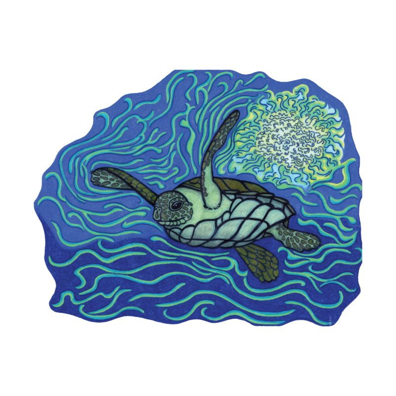 Sea Turtle in Ocean Sun Home Fine Art Print by TYNICKO Random Randoms Shop