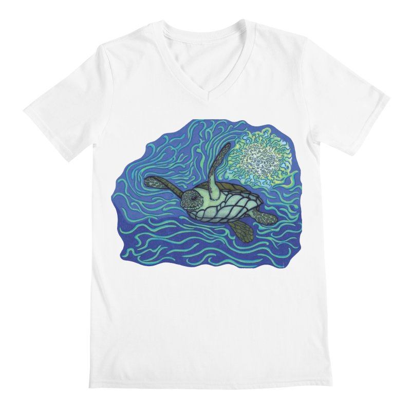 Sea Turtle in Ocean Sun Men's V-Neck by TYNICKO Random Randoms Shop