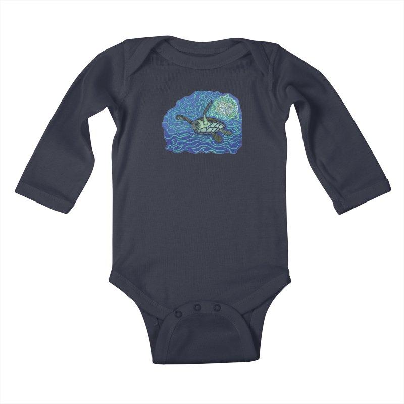 Sea Turtle in Ocean Sun Kids Baby Longsleeve Bodysuit by TYNICKO Random Randoms Shop