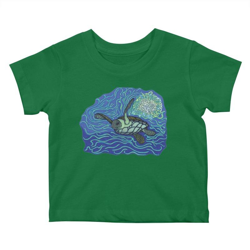 Sea Turtle in Ocean Sun Kids Baby T-Shirt by TYNICKO Random Randoms Shop