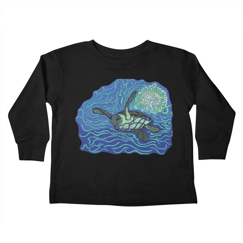 Sea Turtle in Ocean Sun Kids Toddler Longsleeve T-Shirt by TYNICKO Random Randoms Shop