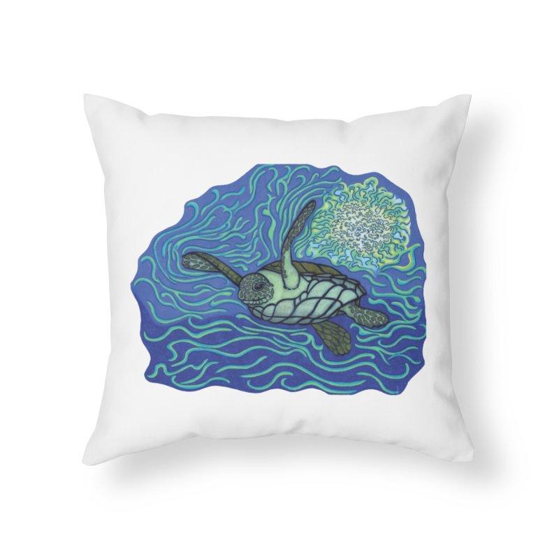 Sea Turtle in Ocean Sun Home Throw Pillow by TYNICKO Random Randoms Shop