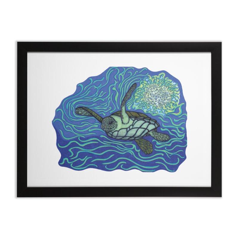 Sea Turtle in Ocean Sun Home Framed Fine Art Print by TYNICKO Random Randoms Shop
