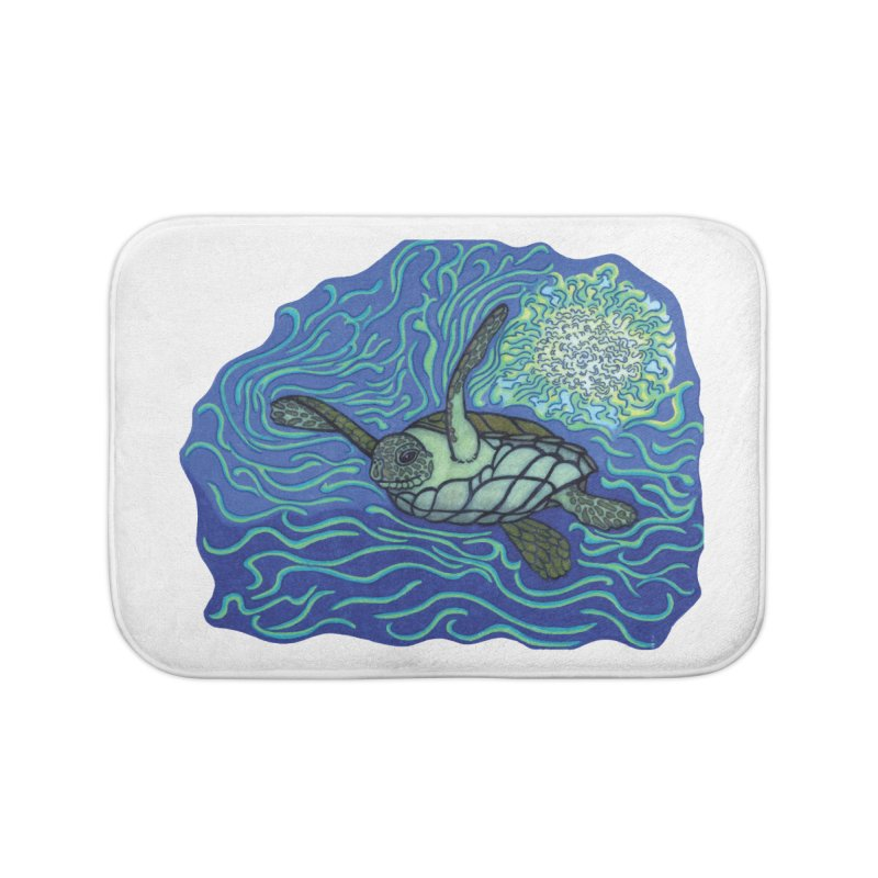 Sea Turtle in Ocean Sun Home Bath Mat by TYNICKO Random Randoms Shop