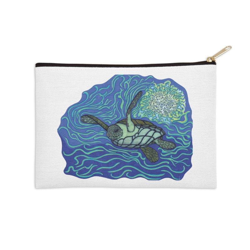 Sea Turtle in Ocean Sun Accessories Zip Pouch by TYNICKO Random Randoms Shop