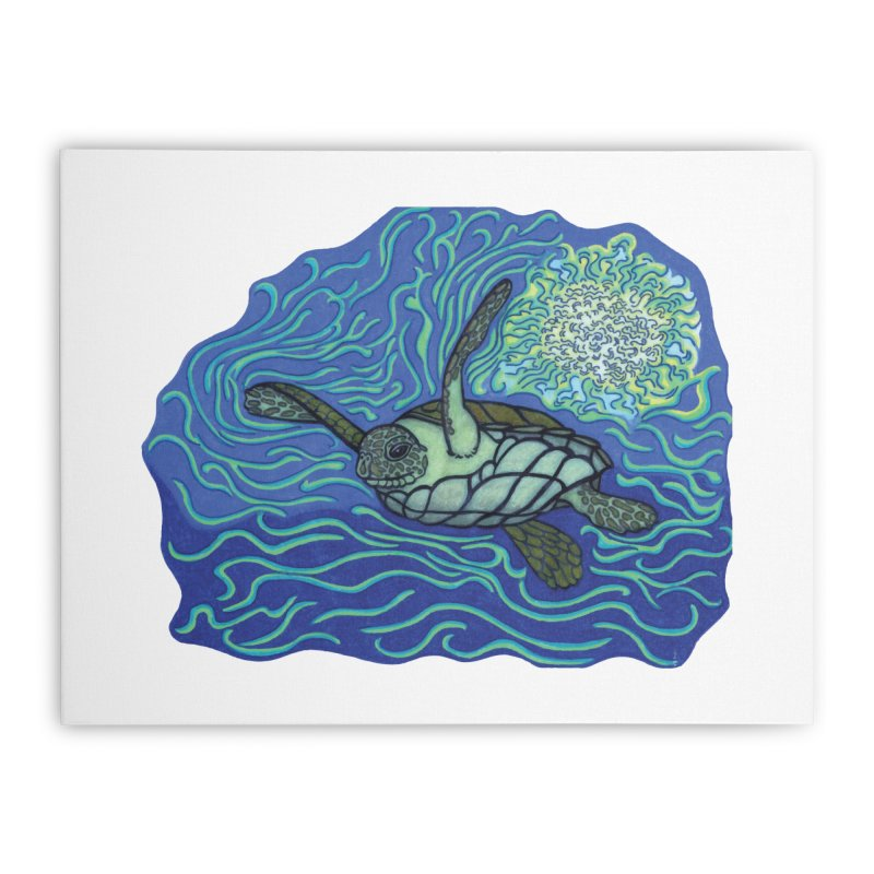 Sea Turtle in Ocean Sun Home Stretched Canvas by TYNICKO Random Randoms Shop