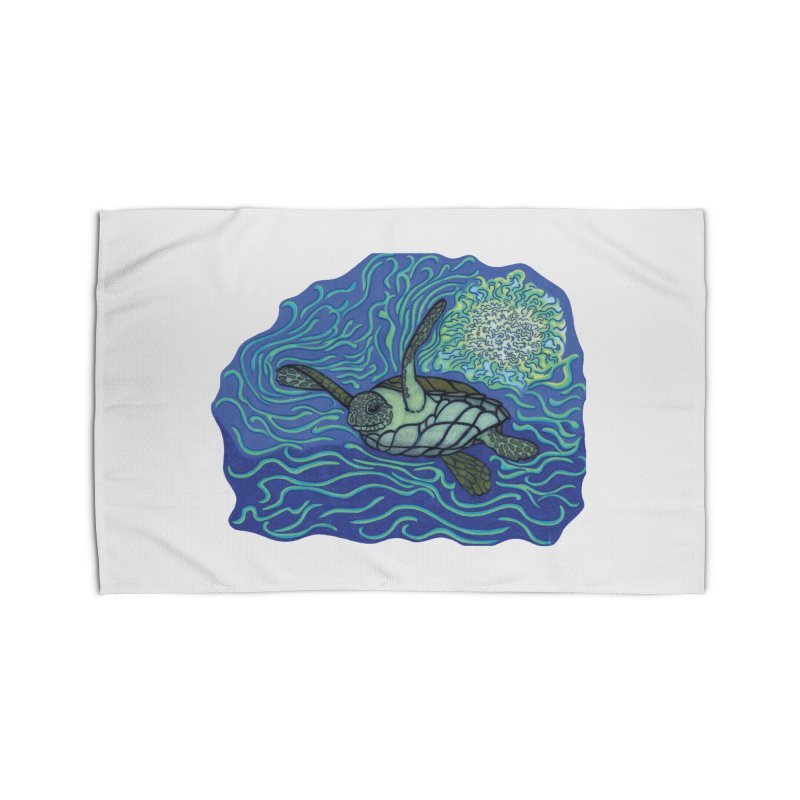 Sea Turtle in Ocean Sun Home Rug by TYNICKO Random Randoms Shop