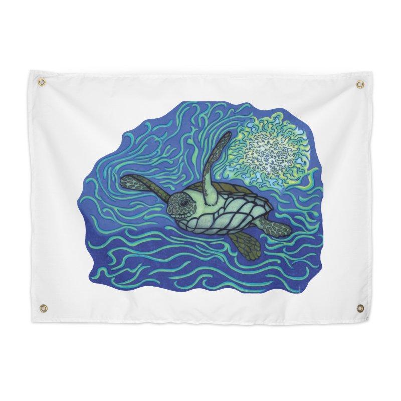 Sea Turtle in Ocean Sun Home Tapestry by TYNICKO Random Randoms Shop