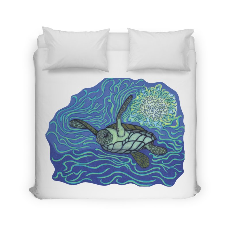 Sea Turtle in Ocean Sun Home Duvet by TYNICKO Random Randoms Shop