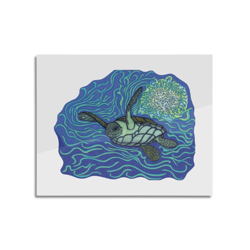 Sea Turtle in Ocean Sun Home Mounted Aluminum Print by TYNICKO Random Randoms Shop