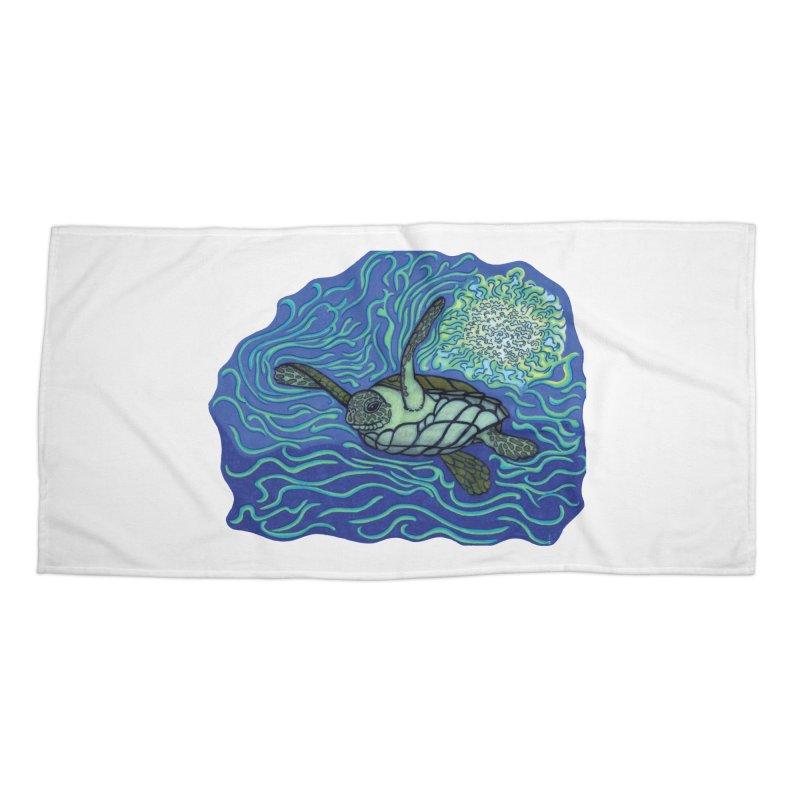 Sea Turtle in Ocean Sun Accessories Beach Towel by TYNICKO Random Randoms Shop