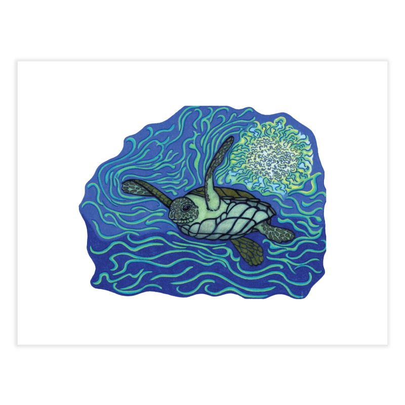 Sea Turtle in Ocean Sun Home Fine Art Print by TYNICKO Random Randoms Shop