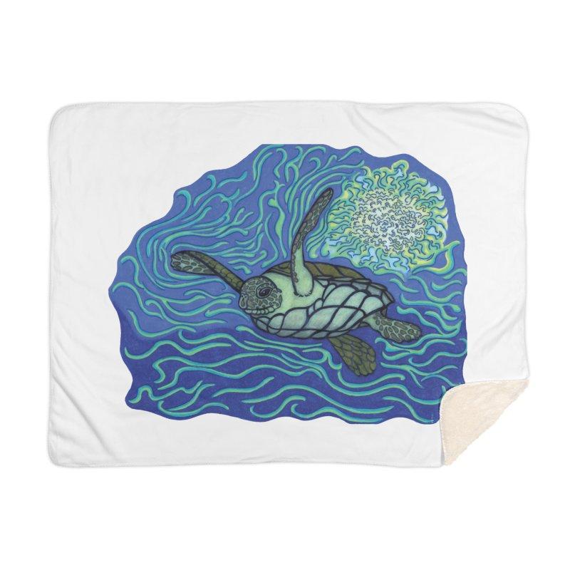 Sea Turtle in Ocean Sun Home Blanket by TYNICKO Random Randoms Shop