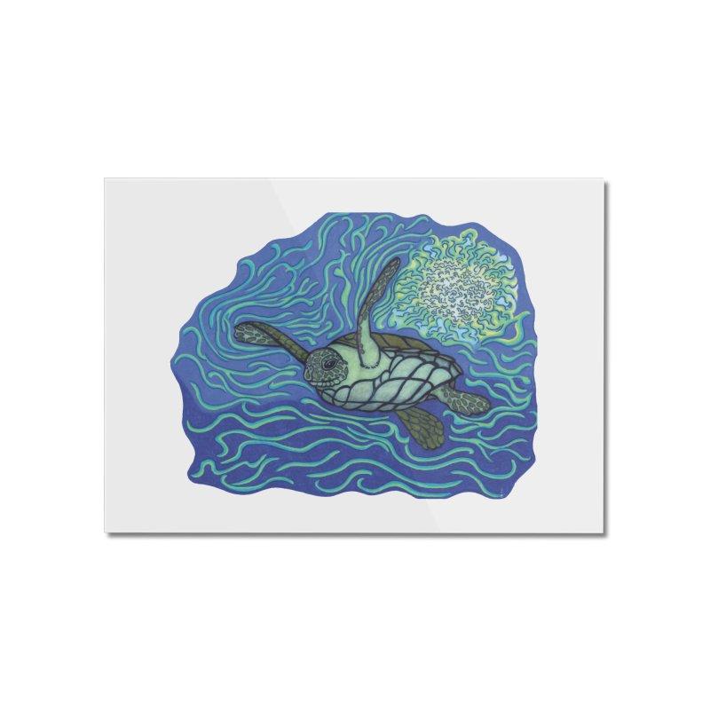 Sea Turtle in Ocean Sun Home Mounted Acrylic Print by TYNICKO Random Randoms Shop