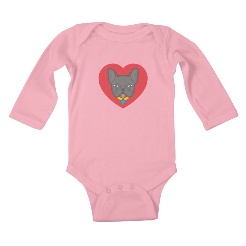 Love Your Frenchie Kids Baby Longsleeve Bodysuit by typonegative's Artist Shop