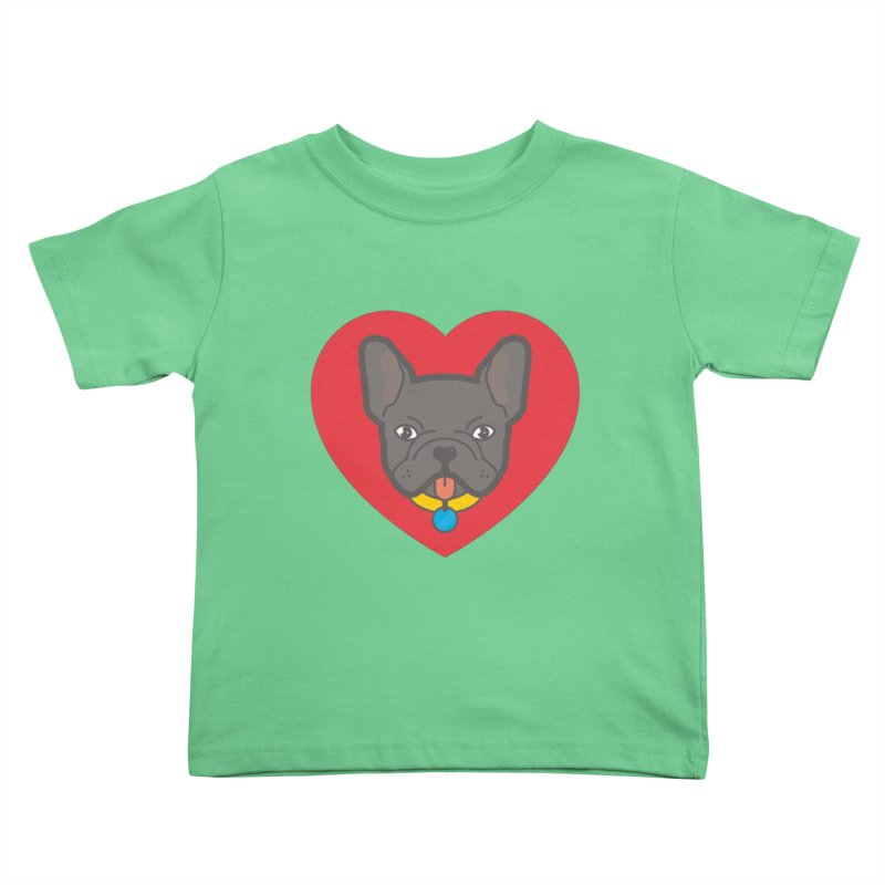 Love Your Frenchie Kids Toddler T-Shirt by typonegative's Artist Shop