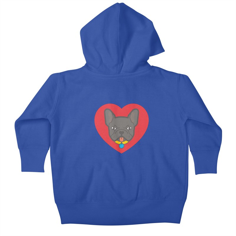 Love Your Frenchie Kids Baby Zip-Up Hoody by typonegative's Artist Shop