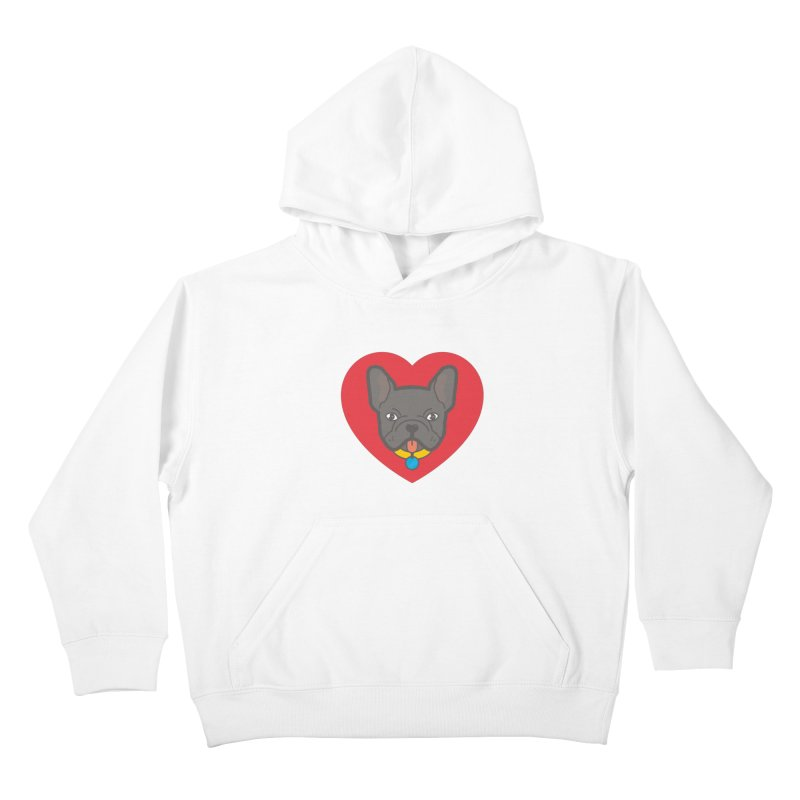 Love Your Frenchie Kids Pullover Hoody by typonegative's Artist Shop
