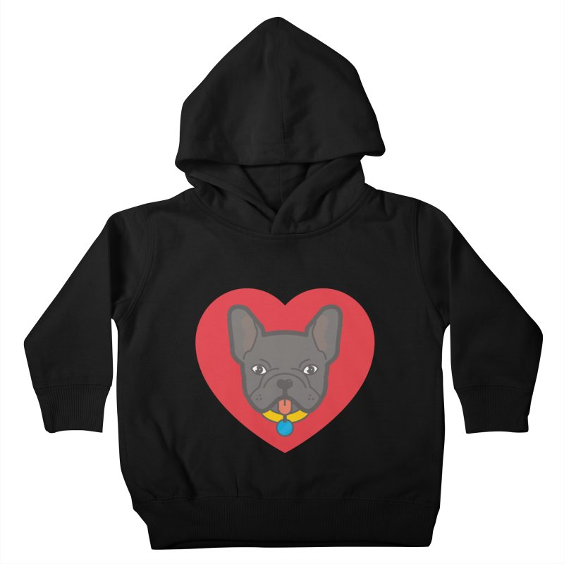 Love Your Frenchie Kids Toddler Pullover Hoody by typonegative's Artist Shop