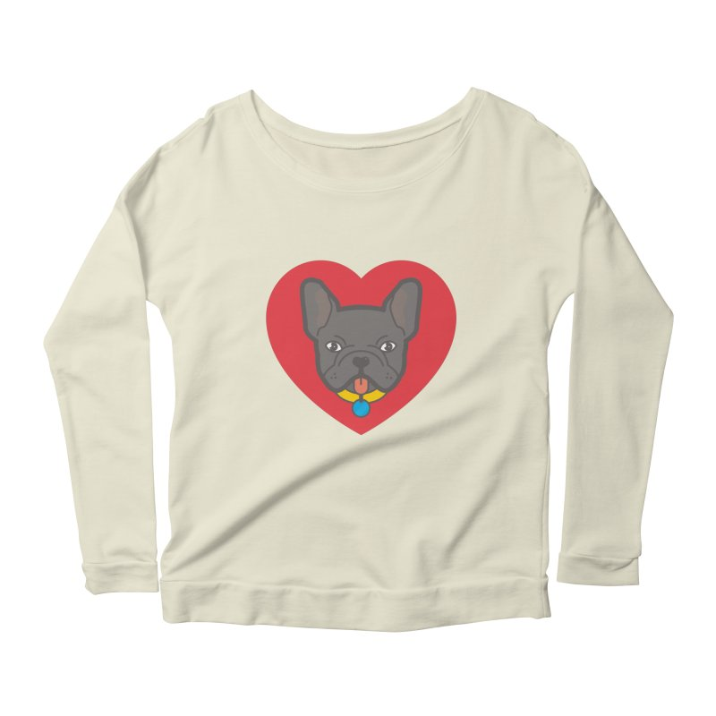Love Your Frenchie Women's Longsleeve Scoopneck  by typonegative's Artist Shop