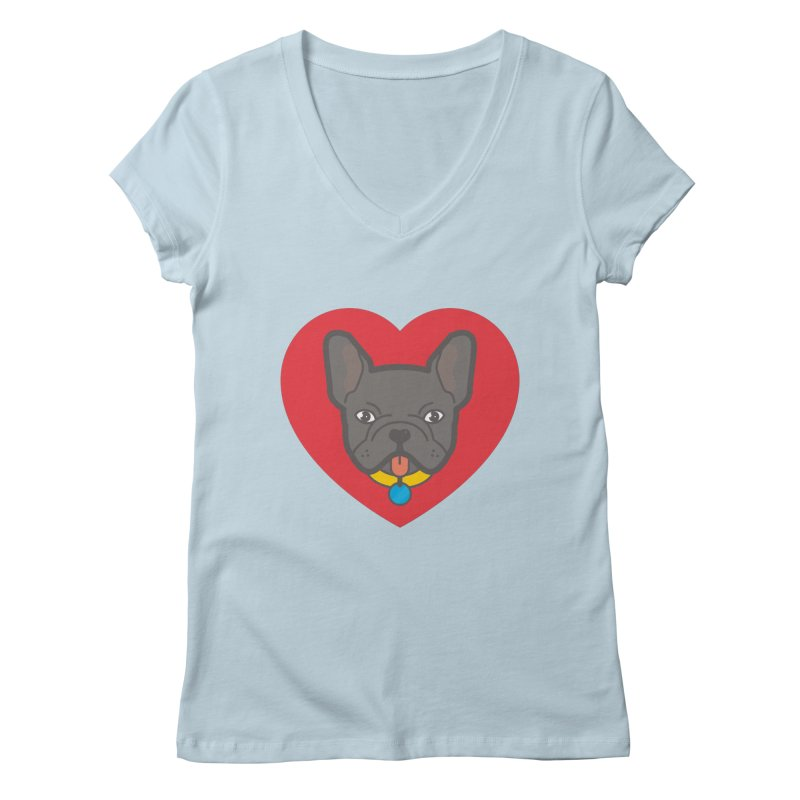 Love Your Frenchie Women's V-Neck by typonegative's Artist Shop