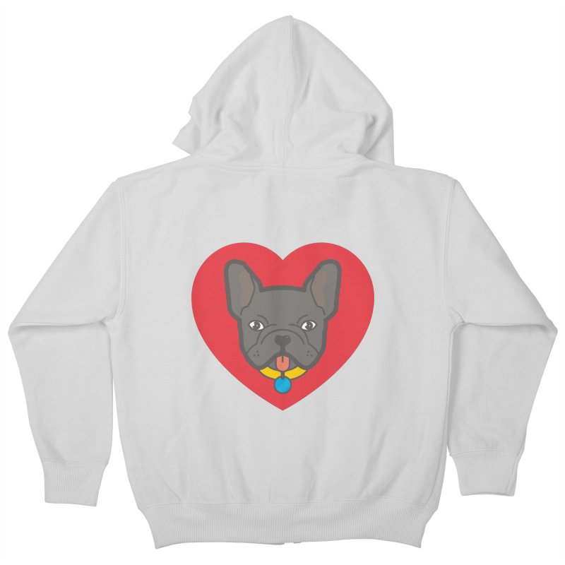 Love Your Frenchie Kids Zip-Up Hoody by typonegative's Artist Shop
