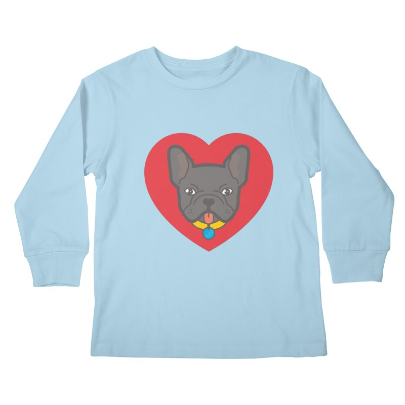Love Your Frenchie Kids Longsleeve T-Shirt by typonegative's Artist Shop