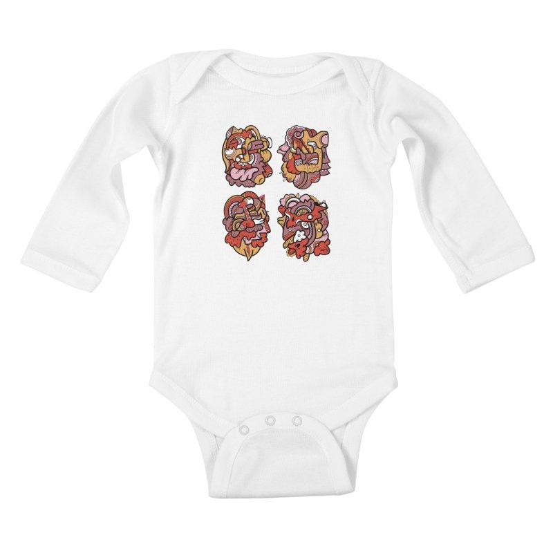 Fab Four Kids Baby Longsleeve Bodysuit by uberkraaft's Artist Shop