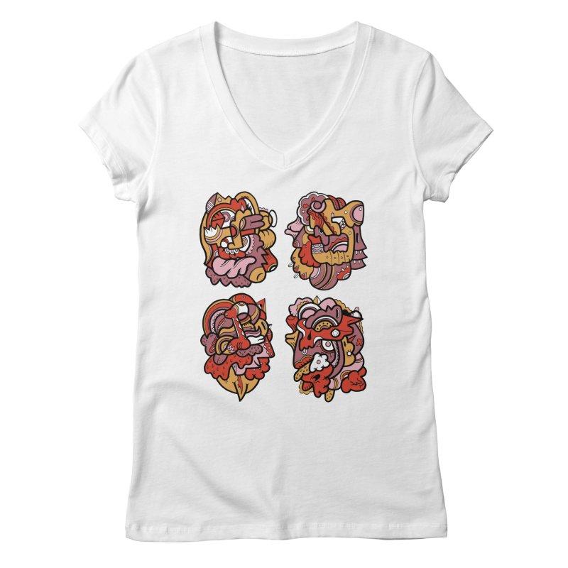 Fab Four Women's V-Neck by uberkraaft's Artist Shop