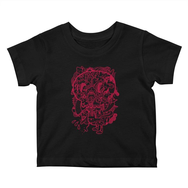 Skull Ochre Kids Baby T-Shirt by uberkraaft's Artist Shop