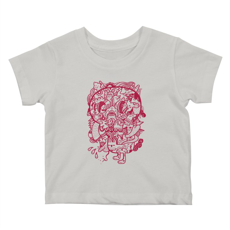 Skull Ochre Kids Baby T-Shirt by uberkraaft's Artist Shop