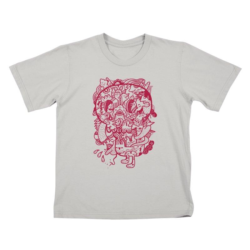 Skull Ochre Kids T-shirt by uberkraaft's Artist Shop