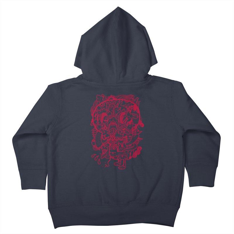Skull Ochre Kids Toddler Zip-Up Hoody by uberkraaft's Artist Shop