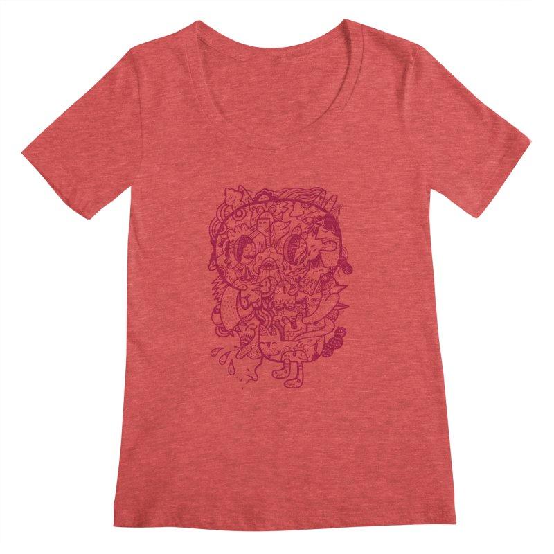 Skull Ochre Women's Scoopneck by uberkraaft's Artist Shop