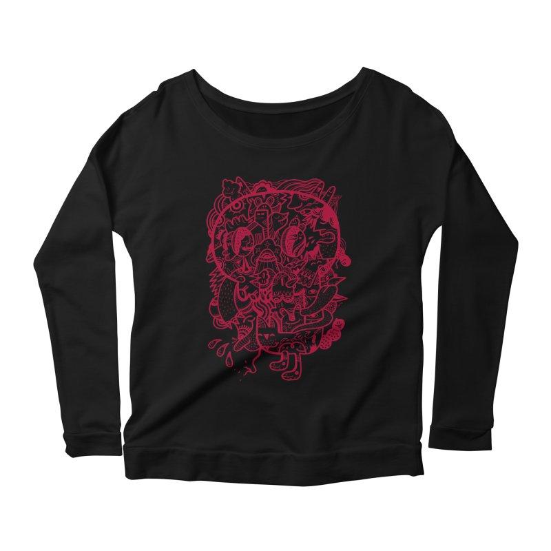 Skull Ochre Women's Longsleeve Scoopneck  by uberkraaft's Artist Shop