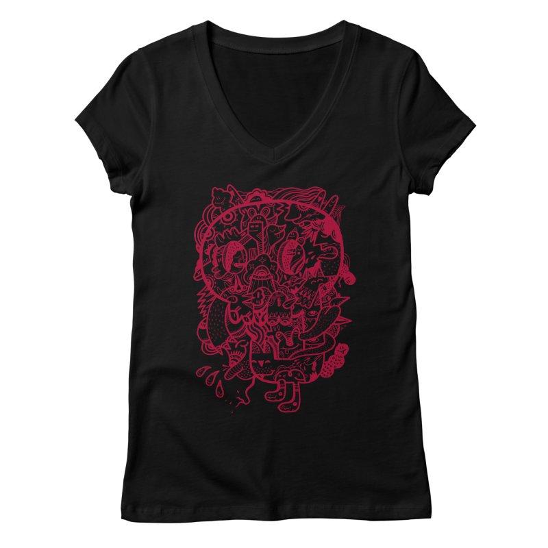 Skull Ochre Women's V-Neck by uberkraaft's Artist Shop
