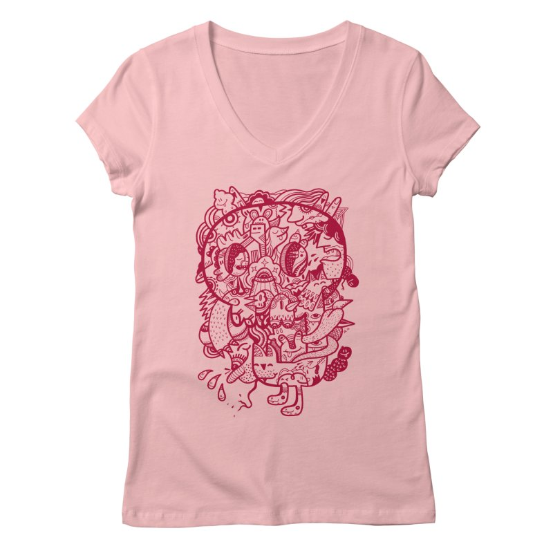 Skull Ochre Women's V-Neck by uberkraaft's Artist Shop