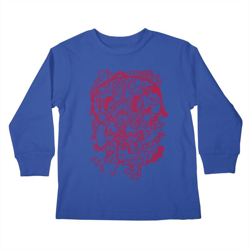 Skull Ochre Kids Longsleeve T-Shirt by uberkraaft's Artist Shop