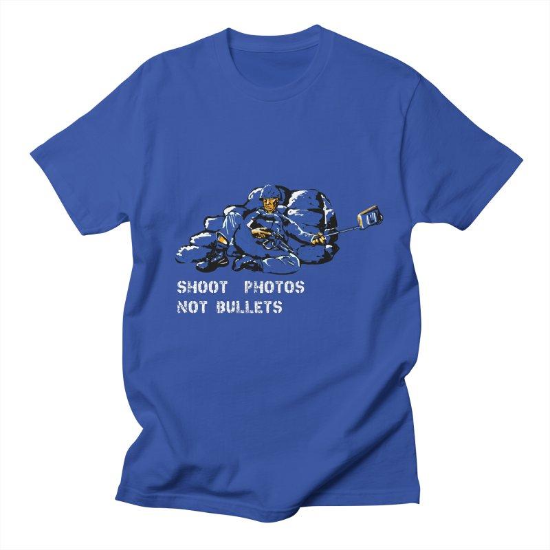 Shoot photos not bullets in Men's T-shirt Royal Blue by U-Bot Shop