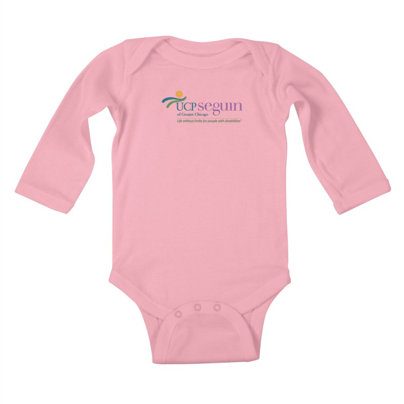Apparel w/ Color Logo - Full Chest in Kids Baby Longsleeve Bodysuit Light Pink by UCP Seguin Swag Shop