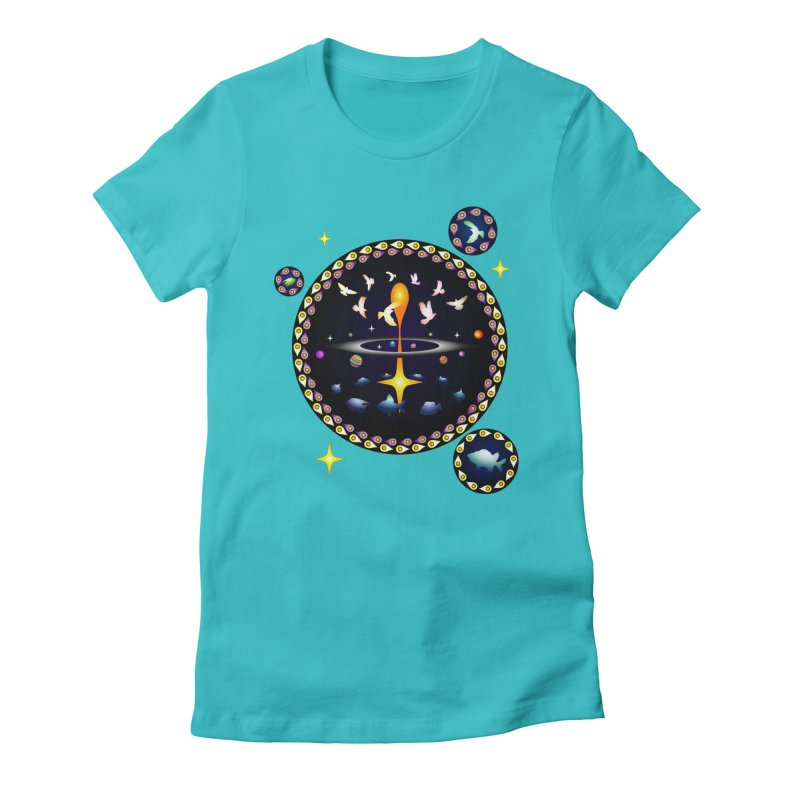 Universe of sky and sea Women's Fitted T-Shirt by Universe Deep Inside