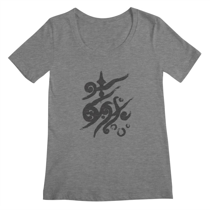 Life . nature in calligraphic style Women's Scoopneck by Universe Deep Inside