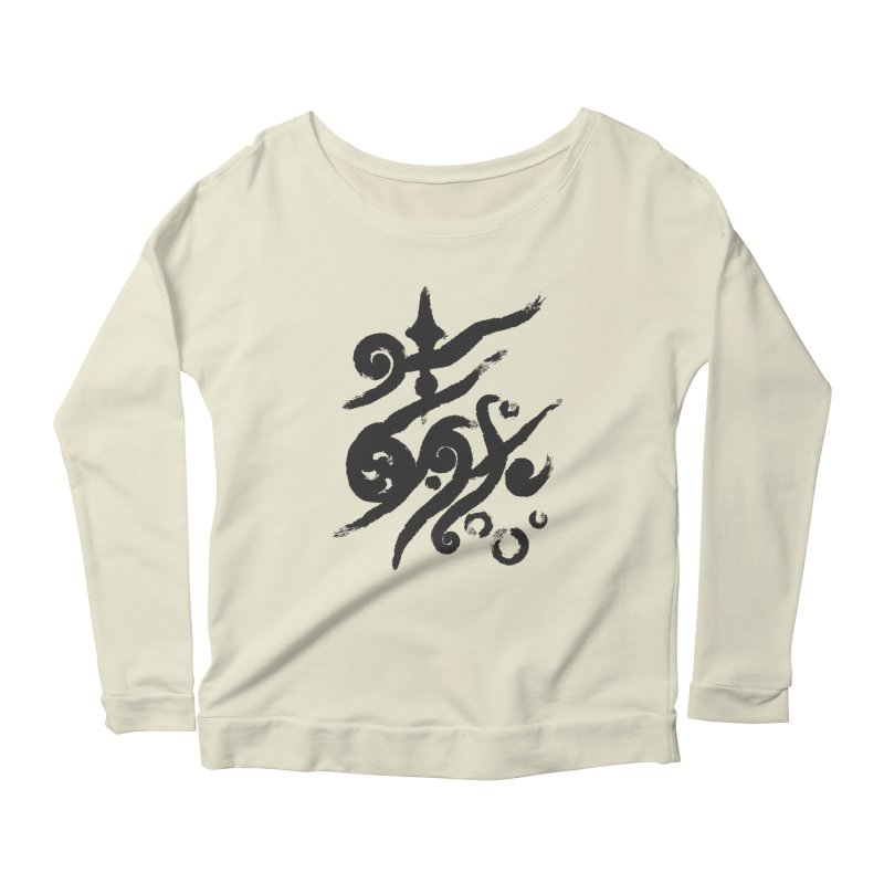 Life . nature in calligraphic style Women's Longsleeve Scoopneck  by Universe Deep Inside