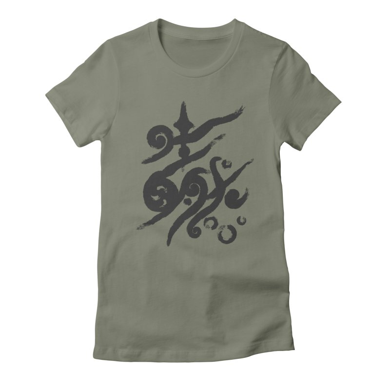 Life . nature in calligraphic style Women's Fitted T-Shirt by Universe Deep Inside