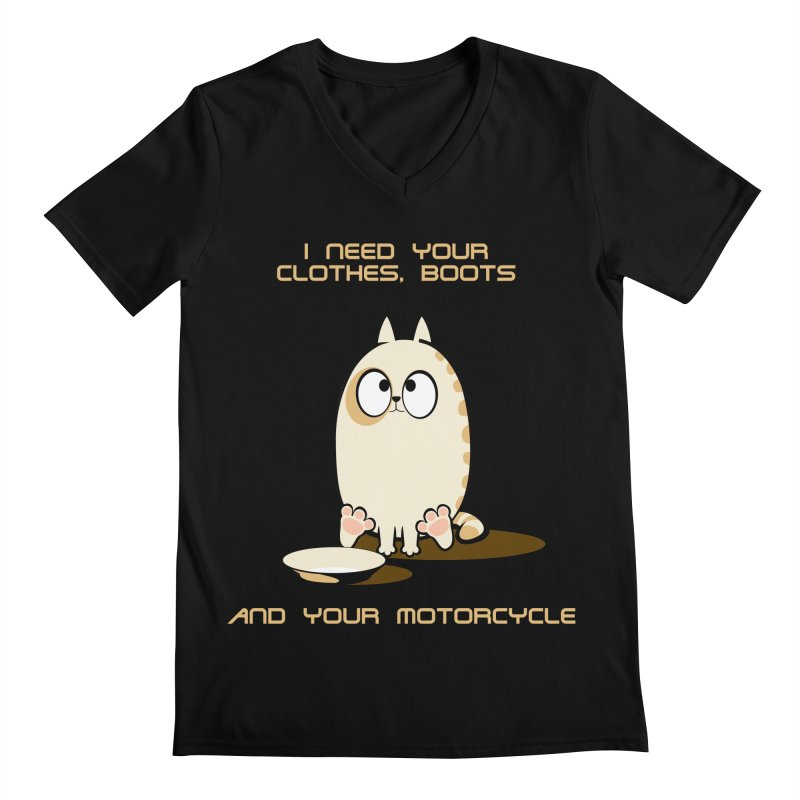 Terminator Cat Men's V-Neck by LookAway Design Shop