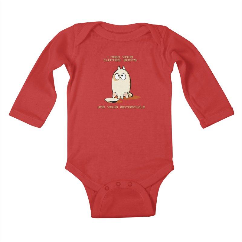 Terminator Cat Kids Baby Longsleeve Bodysuit by LookAway Design Shop