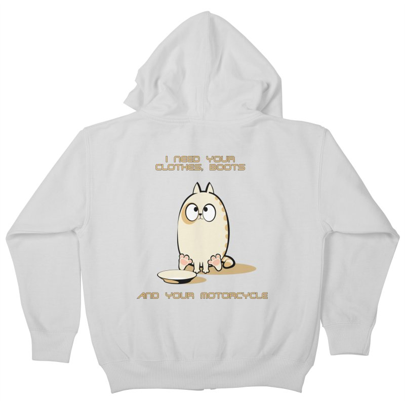 Terminator Cat Kids Zip-Up Hoody by LookAway Design Shop